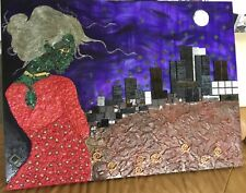 Mixed media painting Hi Tech robot lady Cisco systems Superman large oil Surreal