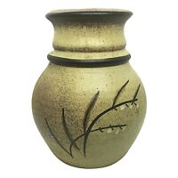 Vintage Tan/Brown Speckled Stoneware Pottery Vase Mid Century Cotton Ball Plants