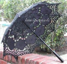 BLACK Battenburg Lace Parasol - Goth Style!