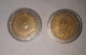 Vintage 1995 Argentina 1 peso moneda w ERROR ProvinGias Del Río De La Plata
