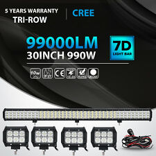 "30Inch 990W+4"" 18W Led Work Light Bar TRI ROW Spot Flood Offroad 4WD ATV Truck"