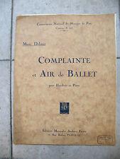 Partition Complainte et Air de Ballet pour Hautbois et Piano Delmas Music Sheet