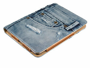 TRUST 19193 BLUE WASHED DENIM JEANS FOLIO + STAND, REAL POCKETS, FOR IPAD MINI
