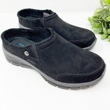 Skechers Women's Easy Going-Latte-Twin Gore Slip-on Open Back, Black, Size 9.5