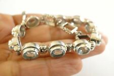 Blue Topaz 925 Sterling Silver Strand Tennis Bracelet