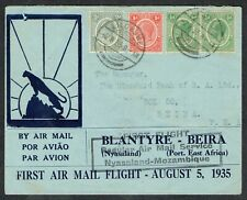 More details for 1935 nyasaland first flight to mozambique lilongwe to beira very fine used