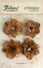 Burlap Flowers 4 x NATURAL Approx 55-60mm across & varied centres Petaloo BUR E