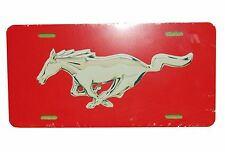 RED MUSTANG HORSE LICENSE PLATE 6 X 12 INCHES ALUMINUM FLAT NEW MADE IN THE USA