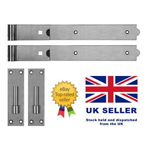Stainless Steel Straight Hook & Bands with Fixings - Field Garden Gate