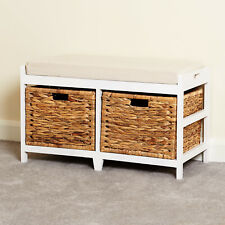 Storage Bench Cushion Seat & Seagrass Wicker Baskets Bathroom/Bedroom/Hallway