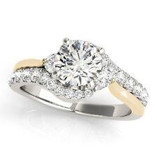 NEW LADIES 14k TWO-TONE GOLD SEMI-MOUNT DIAMOND ROUND SWIRL ENGAGEMENT RING