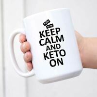 Keep Calm and Keto On Bacon Mug Coffee Cup Men Women Novelty Gift