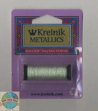 Kreinik Metallic Thread - 12Yd Spool of #198 Pale Green VF #4 Braid