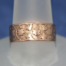 Victorian 10K Rose Gold Cigar Band Ring 7.5mm wide Size 8 1/4
