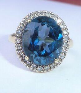 Large 9ct Gold 5.00ct London Blue Topaz & 0.25ct Diamond Halo Ring, Size K