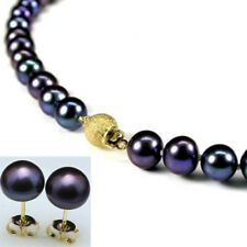 "Genuine 8-9mm Natural Black Akoya Cultured Pearl Necklace Earrings Set 18"" AAA"