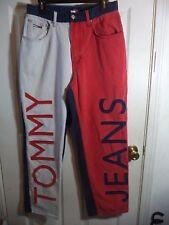 90s Vintage TOMMY HILFIGER Hip Hop ENORMOUS Red White Blue Jeans RARE  size 32