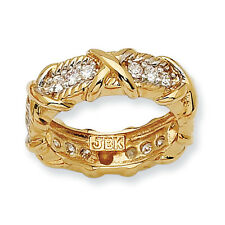 Jacqueline Kennedy 24K Gold Finish & Vermiel Clear CZ Unity Fashion Ring Size 5
