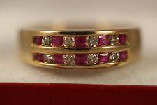 14K SOLID YELLOW GOLD .66CTW PRINCESS PINK TOPAZ DIAMOND RING 14KT SZ 6.5 3.80G