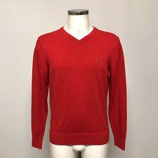 TOMMY HILFIGER Red Jumper Sweatshirt Casual V Neck Knit Cotton Size M 143003
