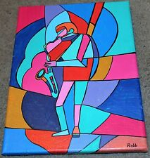 """Contemporary Modern Painting """"Stained Glass Sax""""-Original-10 x 12"""