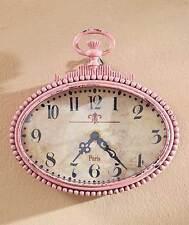 Metal Wall Clock Art Vintage Distressed Victorian Pocket Watch PINK Wall Decor