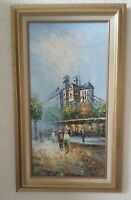 Framed Original Impressionist Oil Painting On Canvas Paris Street Landscape,
