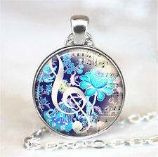 Music Symbol Flower Cabochon Tibetan silver Glass Chain Pendant Necklace 58