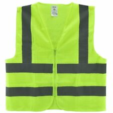 Mesh High Visibility Neon Green Zipper Front Safety Vest with  Strips XL