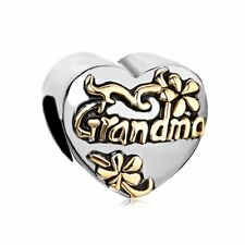 NEW Grandma Family Charm Heart Floral Beads Pandora Charms Bracelet BEST GIFT