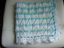 "PASTEL STRIPED HAND KNIT CROCHET BLANKET 27"" X 27"""