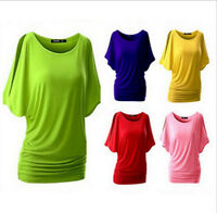 Fashion New Lady Womens Summer Loose Tops Short Sleeve T Shirt Casual Blouse AU