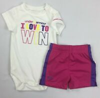 Baby Girl's Infant Under Armour Bodysuit One Piece & Mesh Shorts Set Sz 3-6 mos