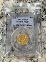 2008 W $10 Gold Buffalo PCGS MS70 Graded 1/4 oz