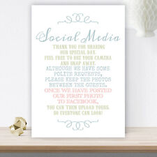 Pastel Coloured Wedding No Photos On Social Media Sign Poem On White Card C28