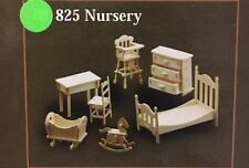 1/12th Scale Nursery Furniture Set, Dolls House Miniatures, Set