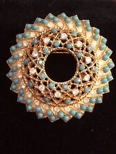 Vintage Sarah Coventry Round Faux Turquoise & Opalescent Rhinestone Brooch