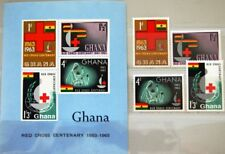 GHANA 1963 145-48 Block 8 139-142a Red Cross Founding Rotes Kreuz Flagge MNH