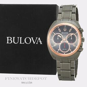 Authentic Bulova Men's Curv Chronograph Gunmetal Stainless Steel Watch 98A158