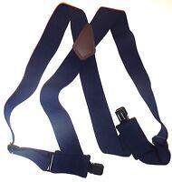 """Mens's 2"""" Dark Blue Side Clip Suspenders. Elastic, 48"""", SF"""