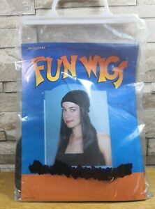 ADULT LONG BLACK HAIR WIG WITH BEANIE HAT BRAND NEW IN BAG