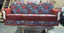 3 Seater Red Patterned Settee