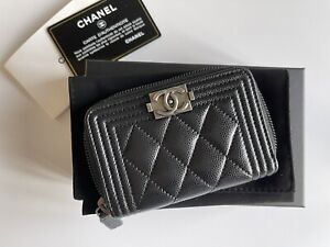 Chanel wallet boy zipped coin purse