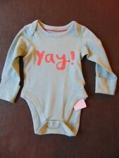 M&S 100%Cotton L/Sleeved 'Yay!' Body Suit Top 3-6m 69cm Teal Mix BNWT