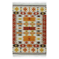 Hand-Woven Geometric 4x6 Kilim Turkish Oriental Area Rug Wool Area Rug Carpet