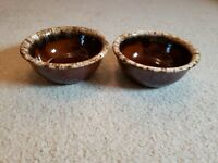 Set (2) Vintage HULL USA Brown Drip Pottery Oven-Proof Cereal Berry Bowls 5 1/4""