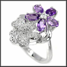 Amethyst Sterling Silver Natural Fine Gemstone Rings