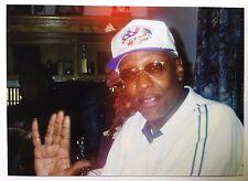 Vintage PHOTO Older African American Black Man Wearing Bass Fish Hat