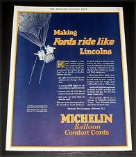1924 OLD MAGAZINE PRINT AD, MICHELIN TIRES, RIDING COMFORT, HOT AIR BALLOON ART!