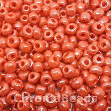 50g vetro SEMI PERLINE-Arancione Opaco Lustered-circa 4 mm (size 6/0) Artigianato